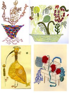 Yesterday's wacky house post had me thinking about Sarajo Frieden. When I was at her site I came across these new embroidered paper pieces. Is embroidery the new trend or what? Embroidered Paper, Paper Embroidery, Stitching On Paper, Mixed Fiber, Contemporary Embroidery, New Art, Paper Art, Blog, Arts And Crafts