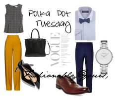 Women: Hey there #Polkadot fanatics, matching a sleeveless polka dot pleated top with crepe trousers leaves you with a fashion forward outfit for your #Tuesday!  This mustard color really pops out against black and white dots!  Lastly, a short heel under your pant leg peaks out but leaves a lasting impression.   Men: This #PolkadotTuesday go for a more dapper look.  Match snazzy brown Declan shoes with a vibrant blue trouser.  A perriwinkle top and a cool polka dot bowtie leaves you with a…