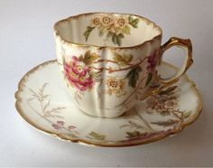 Aynsley Antique English China Tea Cup & Saucer 169873 Pink Flowers: