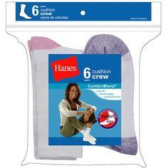 Hanes Ladies Socks Crew 6 Pack, Women's, Size: 8-12, Pink