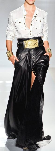 Balmain lush leather maxi skirt with white shirt and gold belt!