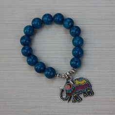 Women Bracelet 10mm Blue Beads with Elephant charm