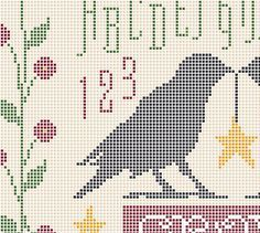 Ravens Cross Stitch, Primitive Cross Stitch, Country Sampler, Blackbird Cross Stitch, Crows, Crows Silhouette, Country Cross Stitch, Ravens, Birds from NewYorkNeedleworks on Etsy  RAVENS PRIMITIVE SAMPLER is charted for 18 ct. and approximate finished size is 8.50 x 6 (153 x 106.) The background is left blank to show fabric or can be filled in to your liking as in sample. Posted is my original chart pattern (showing a color background), sample and idea (using BUTTONS for flowers.) Sizes…