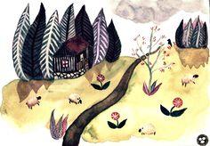 Větrov, Krušné hory (watercolors) | Sova Hůová