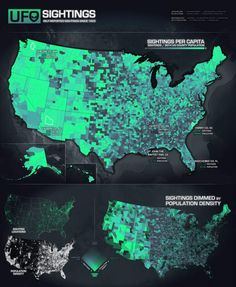 This UFO data visualization map made by expert John Nelson, combines census data with nearly 90 years of statistics. Images credit John Nelson The UFO data… Map Geo, Big Data Visualization, Crop Circles, Ufo Sighting, Geek Out, Ancient Aliens, Macabre, Sacred Geometry, Arquitetura