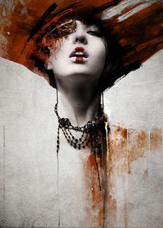 Jarek Kubicki is a photographer /graphic designer from Poland. His work centers around dark themes and his compositions mix elements of painting, photo manipulation and sketching to create some truly unique art pieces. Art And Illustration, Illustration Fashion, Portrait Illustration, Fashion Illustrations, Watercolor Illustration, Woman Painting, Painting & Drawing, L'art Du Portrait, Woman Portrait