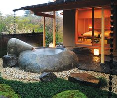 Gôra Kadan, Hakone, Japan Ever felt like bathing in a Zen garden? Book room No. 702 at Gôra Kadan, a secluded ryokan 65 miles south of Tokyo—its open-air soaking tub sources hot water from mineral springs on the hotel grounds.