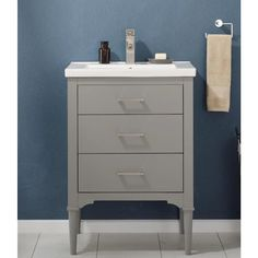 Design Element Mason 24-in Gray Single Sink Bathroom Vanity with White Porcelain Top in the Bathroom Vanities with Tops department at Lowes.com Single Sink Bathroom Vanity, Vanity Sink, Colored Dining Chairs, Best Bathroom Vanities, Wall Mounted Vanity, Grey Cabinets, Painting Cabinets, Amazing Bathrooms, Small Bathrooms