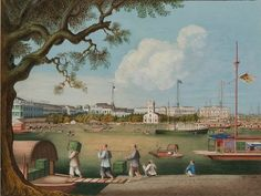 'The waterfront at Canton with the American, British and Danish factories and the Protestant Church', Studio Tingqua (active 1840-1870), c1847-56. Caroline Simpson Collection, Historic Houses Trust