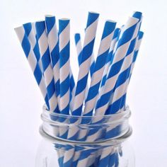 Blue Striped Paper Straws, 25-pack - from category Party Goods (Uniik Stuff)