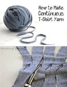 "HOW TO MAKE YOUR OWN TARN: T-shirt yarn, also known as ""tarn"", is perfect for lots of DIY craft projects. It has a nice slightly stretchy quality, and is very easy to make yourself. This video will show you how to make long continuous pieces of t-shirt yarn and how to connect two ends of tarn together. After cutting the longs strips (using a rotary cutter is quickest), just tug on each end; this will cause the tarn to curl, making the ""corners"" virtually disappear!"