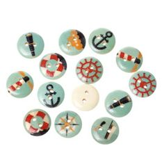 Blue based nautical / sailing 15mm buttons