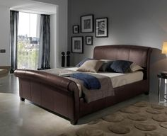 Kaydian Eshott Leather Sleigh Bed - Double Bed Frame Only - Brown Brown Leather Bed, Leather Sleigh Bed, Leather Bed Frame, Real Leather, Home Bedroom, Bedroom Furniture, Bedroom Decor, Bedrooms, Furniture Ideas