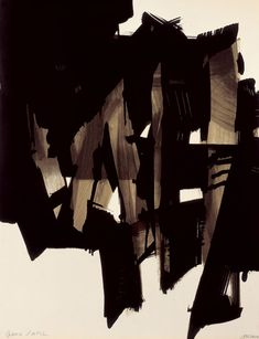 1964 'Lithographie by Pierre Soulages (paint on 4 boards) Abstract Expressionism, Abstract Art, Modern Art, Contemporary Art, Art Et Illustration, Art Abstrait, Art Design, Interior Design, Oeuvre D'art