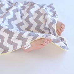 Unisex Baby Blanket - Grey Chevron with Yellow Minky Lovie, Security Blanket with Minky for Baby Boy Baby Girl. $18.50, via Etsy.