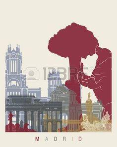 Madrid skyline poster - Fine Art Print Glicee Poster Decor Home Gift Illustration Wall Art Artistic Colorful Landmarks - SKU 1358 Illustrations, Graphic Illustration, Madrid Skyline, Spanish Posters, Voyage Europe, Sale Poster, Vintage Travel Posters, Fine Art Prints, Wall Art