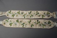 Embroidered silk garters, Saxony, 19th c., Museum of Saxon Folk Art