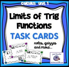 Calculus Limits of Trig Functions Task Cards Notes HW Limits Calculus, Ap Calculus, Chemical Engineering, Electrical Engineering, Trigonometric Functions, Math Classroom, Classroom Ideas, College Math, Business Education
