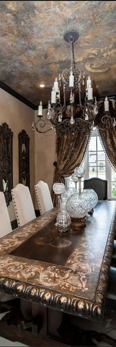 This ceiling❤❤❤ Mediterranean - Old World - Tuscany   Dining Room