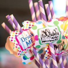 Free tea party straw printables...mad hatter style. Flove