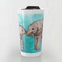Travel Mug featuring Baby Elephant Love - sepia on watercolor teal by Perrin Le Feuvre
