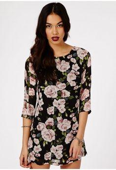 Khushi Rose Print Shift Dress - Dresses - Shift Dresses - Missguided