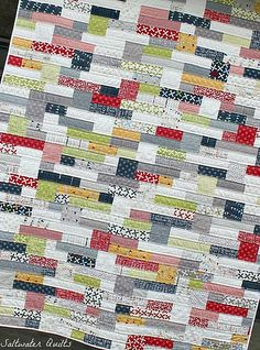 double stacked quilt by Saltwater Quilts made from Reunion fabric by Sweetwater