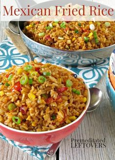 Mexican Fried Rice Recipe- This Mexican Fried Rice is great way to use precooked or leftover rice in an easy side dish. I can also be stuffed into burritos! (Mexican Chicken)