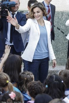 Spain's Queen Letizia headed back to the classroom today to inaugurate the new academic ye...
