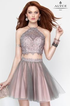 Alyce Paris Short Homecoming Prom Dress - Two piece crop top sweetheart neckline with a sheer laced halter top. Strappy back and a net skirt with detailing above the hips.