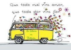 Hip vw yellow bus with flowers Vw T1 Camper, Volkswagen Bus, Kombi Hippie, Van Drawing, Combi T2, T6 California, Bus Art, Vw Vintage, Vintage Campers