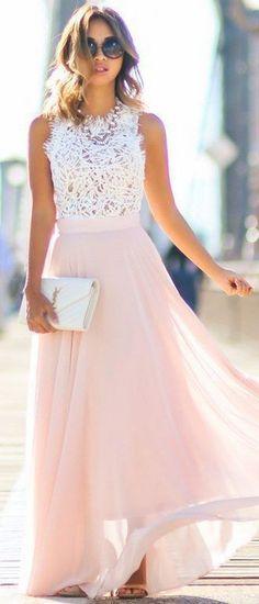 Cute white mesh top pink chiffon wedding guest dress