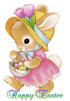 Happy Easter in an Animated Card with a bear dresses up as a bunny. Cute Easter Bunny, Happy Easter, Lapin Art, Penny Parker, Gifs, Bunny Art, Bunny Bunny, Easter Parade, Easter Printables