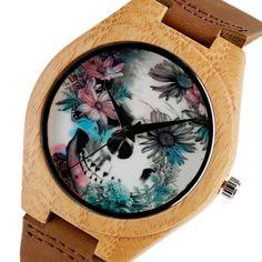 Handmade Leather Band Women's Wooden Skull Watch