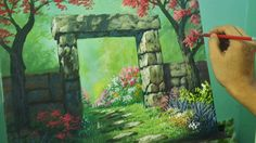 Acrylic Painting Lesson - Gateway to Flower Garden by JM Lisondra                                                                                                                                                                                 More
