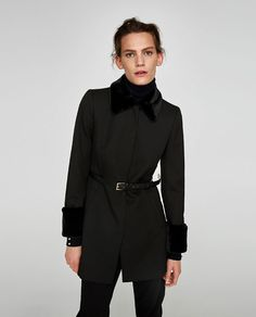 Image 2 of BLAZER WITH BELT AND FAUX FUR DETAILS from Zara