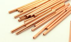 25 Pcs. Raw Copper 2x40 mm Tube Spacers Findings by themetals