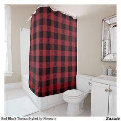 Red Black Tartan Styled Shower Curtain