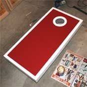 How to Paint DIY cornhole board. We will be using similar colors, but using an Alabama Crimson Tide theme!