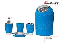 5-piece Bathroom Set - BLUE: liquid soap dispenser, soap tray, toothbrush holder, tumbler, #toilet #WC #blue #sqprofessional