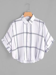 Young Casual Plaid Shirt Oversized Collar Half Sleeve Batwing Sleeve and Roll Up Sleeve White Grid Print Dip Hem Cuffed Blouse Girls Fashion Clothes, Teen Fashion Outfits, Trendy Outfits, Cool Outfits, Stylish Clothes, Dress Fashion, Fashion Fashion, Fashion Ideas, Vintage Fashion