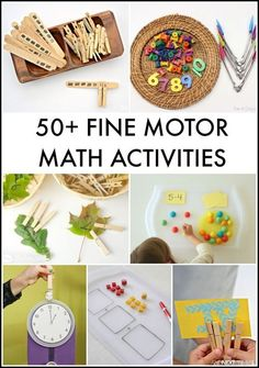 50+ fine motor math activities.  Although I did not click on all 50, those I did look like really good activities for our students with special learning needs.  Go to:  http://www.andnextcomesl.com/2016/02/fine-motor-math-activities-for-kids.html