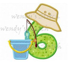 fishing applique birthday number 6 machine embroidery design