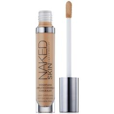 Urban Decay Naked Skin Weightless Complete Coverage Concealer (91 BRL) ❤ liked on Polyvore featuring beauty products, makeup, face makeup, concealer, beauty, medium light warm, hydrating concealer, urban decay, urban decay concealer and moisturizing concealer