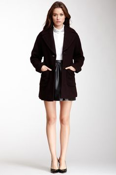 Kenneth Cole Oversized Novelty Wool Blend Coat by Kenneth Cole