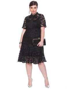 Mixed Lace Dress | Women's Plus Size Tops | ELOQUII