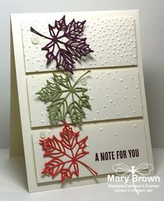 This time of year I just LOVE using leaves on my cards. I LOVE all things leaves and all things tree. They are always a favorite for me. We have a GORGEOUS color inspiration this week – Fresh Fall Cards, Holiday Cards, Christmas Cards, Making Greeting Cards, Greeting Cards Handmade, Stampin Up Anleitung, Karten Diy, Leaf Cards, Thanksgiving Cards