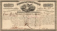 State of New York Payment of Bounties to Volunteers bond certificate 1865