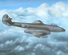 In the Meteors were developed into effective photo-reconnaissance, training and night fighter versions. The fighter reconnaissance (FR) versions were the first to be built, replacing the ageing Spitfires and Mosquitos then in use. Military Jets, Military Aircraft, Air Fighter, Fighter Jets, Gloster Meteor, Avro Vulcan, Post War Era, Airplane Art, Ww2 Aircraft