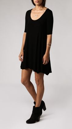 Azalea - Ribbed Scoop Swing Dress